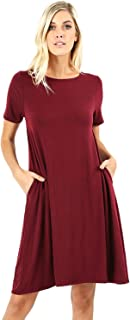 Women's Flare Swing Dresses Short Sleeve Casual T Shirt Loose Dress with Pockets