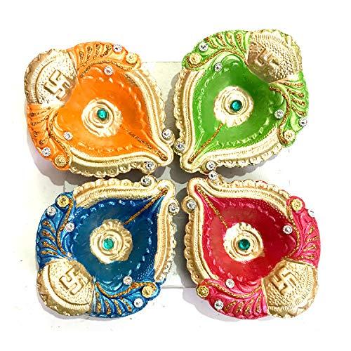 YADNESH Set von 4 handgefertigten Ton Terrakotta dekorative Diyas, Öllampen Diwali Dekorationen Bunte Öllampe Diya Teelichthalter Mitti/Ton/Terrakotta für Dashara, Diwali Puja Festival Home/Office