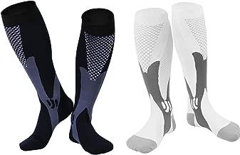 Vishusju Compression Socks 20-30mmHg 2 Pairs for Men Women Athletic Sports Stocking Medical Graduated for Running Biking Nurses