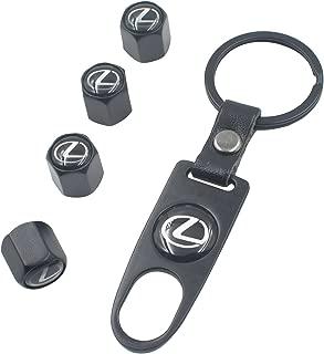 INCART Universal Steel (4pcs) Car Tire Valve Stem Air Caps Cover + (1pcs) Keychain for Lexus Black