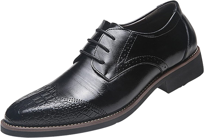Missfiona herr läder läder läder Wing Tips Pointed Toe Brogue Dress skor med Opeing Lacing  rabatt på nätet