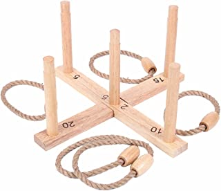 Bloodyrippa Ring Toss Game, Wooden Frame Base, Rope Rings, Indoor & Outdoor Quoits Game for Kids, Adults, Family