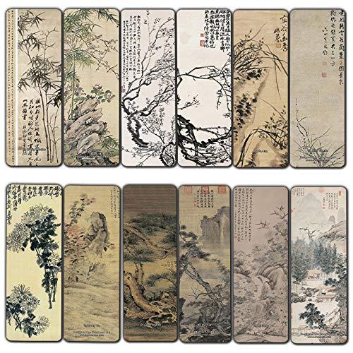Marcadores de livros de pinturas chinesas Creanoso – Quatro cavalheiros e três amigos do inverno (pacote com 12) – Marcadores de livro incríveis para homens, mulheres, adolescentes – Seis modelos de marcadores sortidos em massa – Arte chinesa
