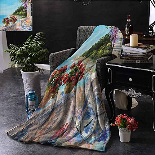 Lakehouse Decor Collection Commercial Grade Printed Blanket Sea View from a Balcony with Cosy Rocking Chair and Flowers in Summer Clear Sky Oil Painting Queen King W70 x L84 Inch Turquoise Red Lilac