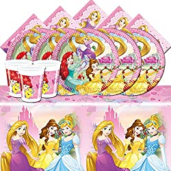 All Inclusive Disney Princess Partyware Set for 8 people Contains Plates, Cups, Napkins and Tablecover Featuring Disney Princess Characters Excellent Party Pack Designed for 8 people