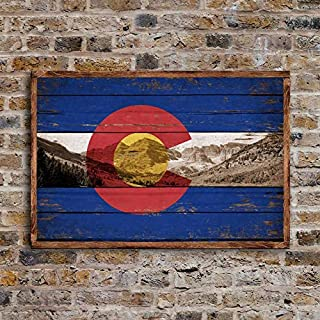 CELYCASY Colorado Mountains Framed Wood Flag Flags Rustic Flags Wooden Handmade Sign Rockies Colorado Rocky Decor Sign Wall Decor Signs