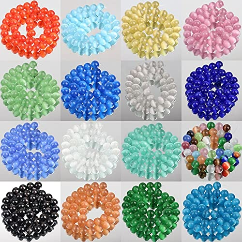 16 colores ojo de gato ópalo piedra natural vidrio 4/6/8/10/12mm espaciador suelto piedra lunar perlas para hacer joyas bricolaje pulsera encontrar