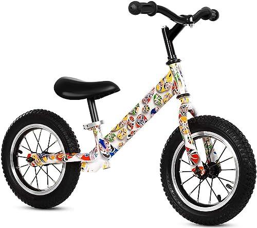 FJ-MC Vélo d'équilibre, 12  Pas de pédale Vélo d'entraîneHommest à Pied, Cadre en Acier à Haute teneur en voiturebone avec Guidon réglable et siège, pour Les Enfants de 1-6 Ans,rose
