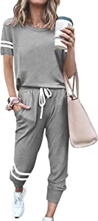 MITILLY Women's 2 Piece Sweatsuit Outfits Summer Crewneck T-Shirt Tops with Long Pants Jogger Loungewear Sets
