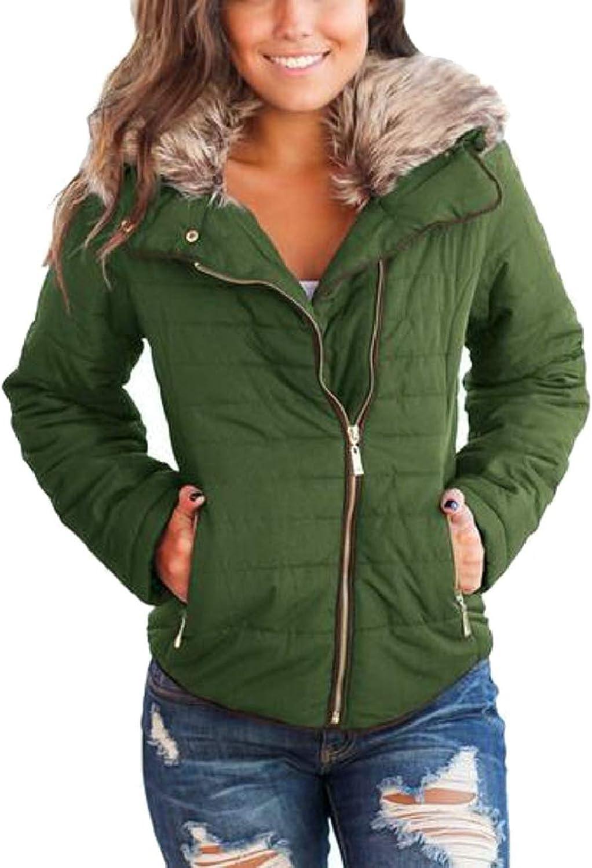 ZXFHZSCA Women Faux Fur Collar Winter Zip Up Front Coat Quilted Jacket Outwear