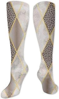 Be-ryl, Calcetines altos de mármol y leopardo de lujo sin costuras geométricas sobre la pantorrilla Calcetines de compresión para hombres y mujeres