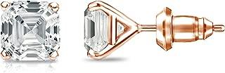 14k Gold 4-Prong Martini Asscher-cut Diamond Stud Earrings (1/2-2ct,White,SI2-I1) Secure Lock Back