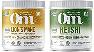 Om Organic Mushroom Superfood Powder Two Pack, Lion's Mane (7.05 Ounce) for Focus/Clarity and Reishi (7.05 Ounce) for Stre...