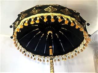 Baligood Black Bali Umbrella- Garden Umbrella, Wedding Umbrella, Hindu Umbrella, Indonesian Umbrella, Festival Umbrella, Pool Umbrella, Party Umbrella, Black Festival Umbrella,