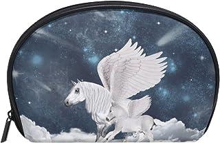 ALAZA Unicorn Half Moon Cosmetic Makeup Toiletry Bag Pouch Travel Handy Purse Organizer Bag for Women Girls