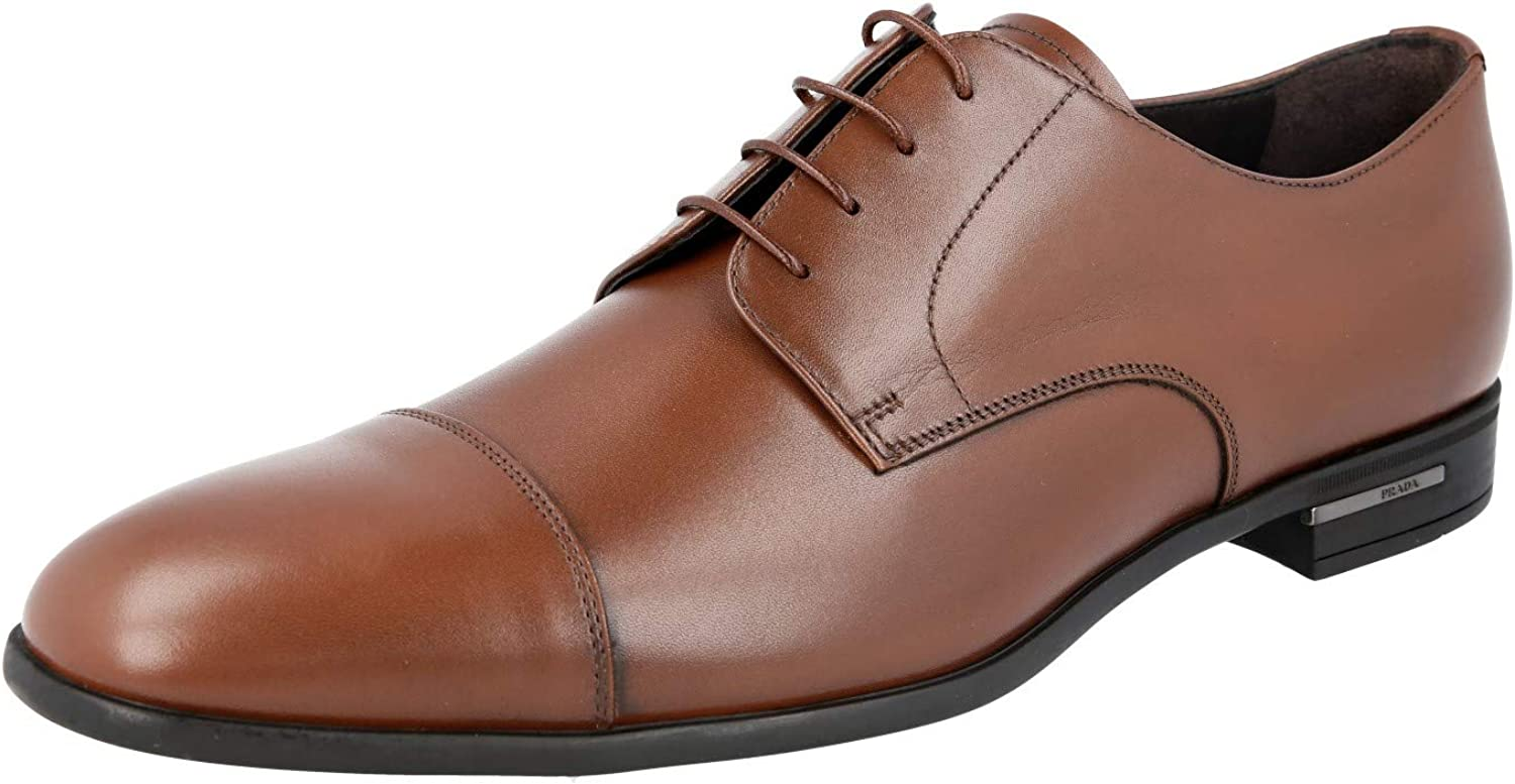 Prada Men's Brown Leather 2EC122 Lace Up Oxford Shoes