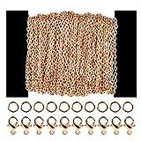 Siumir 39,4 Pies Cadena Oro Rosa Cadena de Eslabones Metálicos 30 Cierres de Langosta 100 Anillos de Salto, para Fabricación de Joyería DIY (2,5 x 3mm)