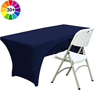 ABCCANOPY 30+ Colors Spandex Table Cover 6 ft. Fitted Polyester Tablecloth Stretch Spandex Tablecover-Table Toppers(Open Back Navy Blue)