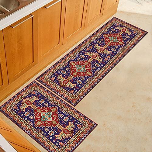 HLXX Alfombra vintage para piso de cocina, baño, entrada, dormitorio, sala de estar, mesilla de noche, alfombra antideslizante, lavable, tamaño A9, 40 x 60 cm