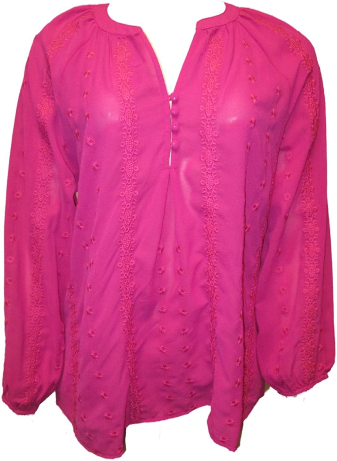 Esley Women's Tunic Top Embroidered Blouse Pink