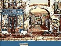 通过数字油画通过数字套件的咖啡厅油漆成人初学者孩子亚麻帆布数字油画帆布墙艺术作品