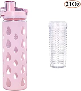 Diller 17-Ounce Cute Glass Water Bottle for Kids with Easy Flip Top Lid and Sleeve BPA-Free Reusable Borosilicate Wide Mouth Sports//Travel Drinking Coffee Mug for Milk//Juice//Tea