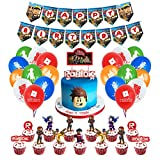 Ro-blox Blocks Birthday Party Supplies, Video Game Themed Party Supplies for Kids, Including Happy Birthday Banner, Big Cake Topper, Cupcake Toppers, Latex Balloons.