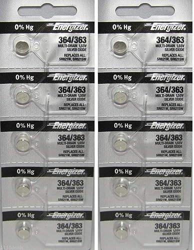 Lot de 10piles pour montre Energizer 364 SR621SW, sans mercure, oxyde d'argent
