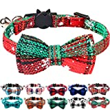 Joytale Quick Release Cat Collar with Bell and Bow Tie, Cute <span class='highlight'>Plaid</span> Patterns, 1 Pack Kitty Safety Collars,Christmas <span class='highlight'>Green</span>