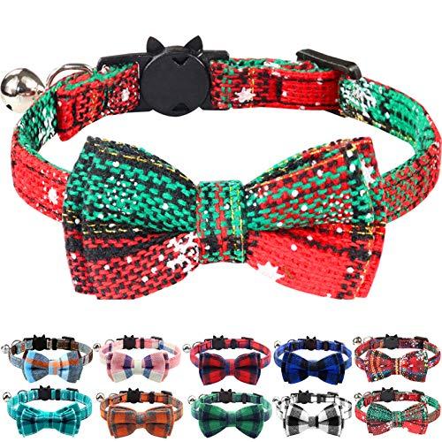 Joytale Weihnachts Katzenhalsband mit Glöckchen und Sicherheitsverschluss, Verstellbarer Weicher Halsband mit Schleife Krawatte für Katzen und Kitten, 1 Pack, Weihnachten Grün