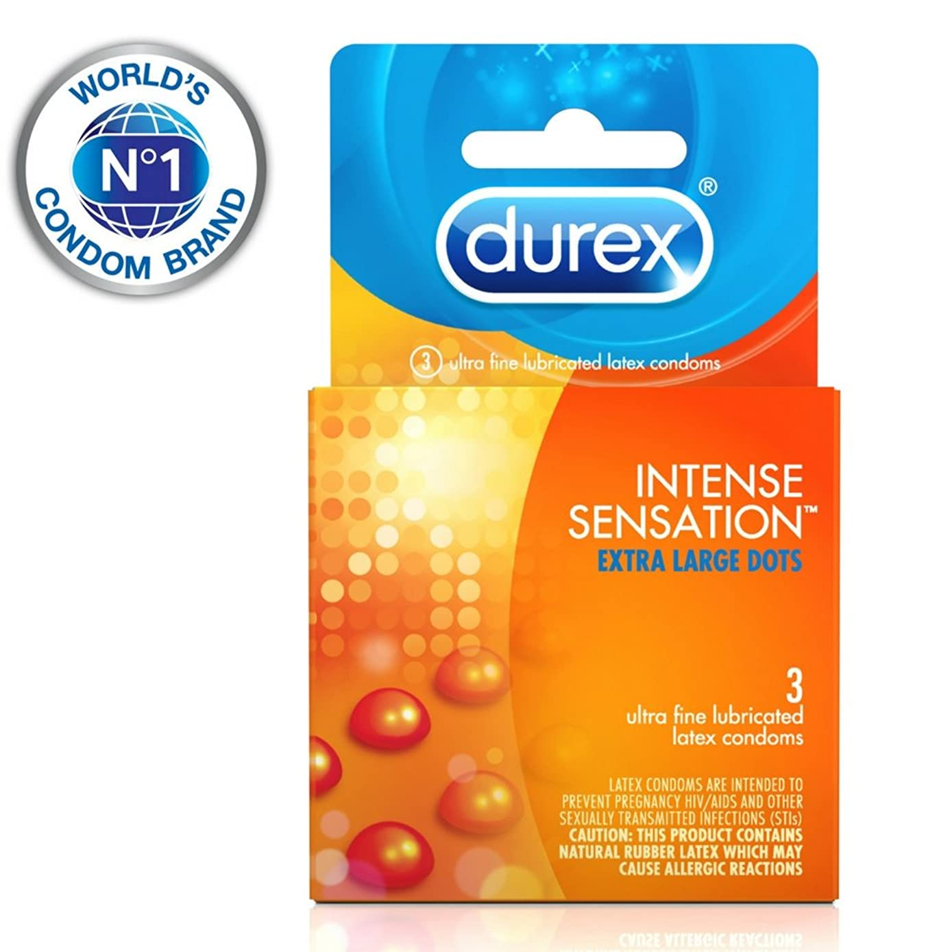 Condoms, Durex Intense Sensation Dotted Condom, 3 ct, Ultra Fine & Lubricated with Dots for Intense Pleasure HSA Eligible