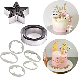 SAKOLLA Twinkle Twinkle Little Star Cake Decoration - Stars/Cloud/Circle Moon Cookie Cutters Kit for Baby Shower Birthday Wedding Party - DIY Cupcake Decoration, Set of 11
