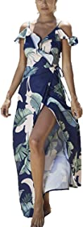 Simplee Apparel Women's Strap Ruffle Cold Shoulder Floral Print Wrap Maxi Dress Beach