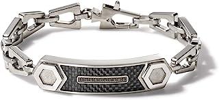 Bulova Mens Precisionist Stainless Steel Tuning Fork Chain Link ID Bracelet, Black Diamond Accent (Model J96B001M), Silver...