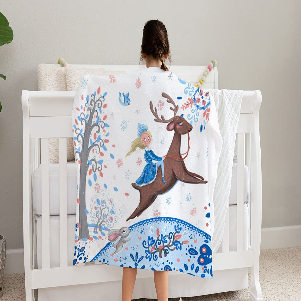 Girl On Deer Max 67% OFF Winter Fairy Talel Fle and Same day shipping Soft Super Blanket Cozy