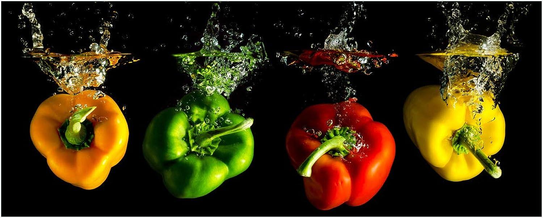 Wallario Glasbild Bunte Küche Paprika in rot gelb Orange und grün im Wasser - 50 x 125 cm in Premium-Qualitt  Brillante Farben, freischwebende Optik