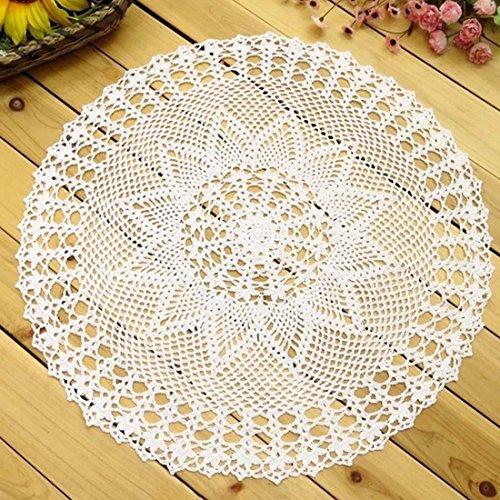kilofly–Juego de hecho a mano Crochet encaje de algodón mesa sofá Doily, nenúfares, 22pulgadas, algodón, Blanco, 22 pulgadas