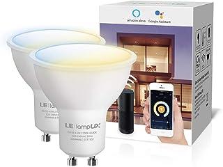 LE Bombillas Inteligentes GU10, Bombilla WiFi Funciona con Alexa y Google Home, Blanco Cálido a Frío, Regulable, No Requie...