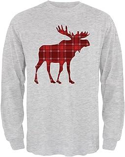 Autumn Plaid Moose Mens Long Sleeve T Shirt