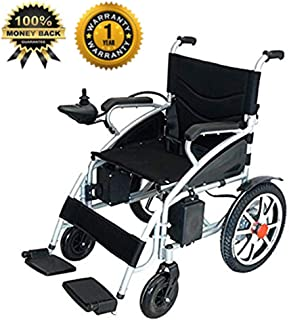 2019 Electric Wheelchair Folding Motorized Power Wheelchairs, Fold Foldable Power Compact Mobility Aid,Transport Friendly Lightweight Folding, FDA Approved for Adults by Medical Care (Black)