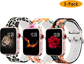 Koreda Floral Bands Compatible with Apple Watch 38mm 40mm, Silicone Fadeless Pattern Printed Replacement Bands for iWatch Series 4 Series 3/2/1 for Women Men