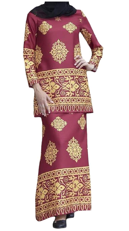 sayahe 女性ナバホ花ロングスリーブイスラムアラブマレーシアスカートセット