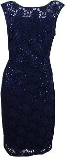 Women's Lace Sequin Sheath Dress