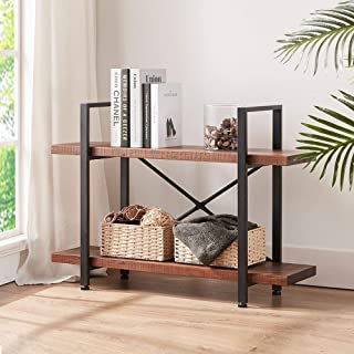 HSH Solid Wood Bookshelf, 2 Tier Rustic Vintage Industrial Etagere Bookcase, Open Metal Farmhouse Book Shelf, Distressed Brown