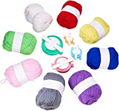 PandaHall kit para hacer bolas de pompones manualidades con 8 rollos hilo de lana y 4pcs Pom-pom Muff Fluff Ball herramienta del arte de DIY Color mezclado