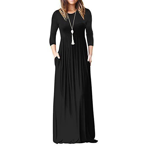 decc7b8e8938a ReoRia Women's 3/4 Sleeve Loose Plain Maxi Dresses Casual Long Dresses with  Pockets