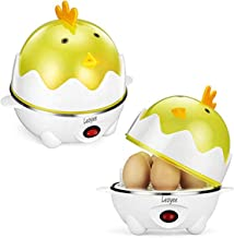 Leoyee Egg Cooker Electric Egg Poacher Egg Steamer Boiled Poached Rapid Egg Cooker with Automatic Shut Off, Soft, Medium, Hard-Boiled Egg Cooker - 7 Eggs Capacity with Water Measuring Cup (YellowWhite)