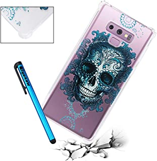 Galaxy Note 9 Case, Qiyuxow Clear [Shockproof Series] Reinforced Corners TPU Bumper Anti Slip Case Back Protector Cover with Flowers Floral Printed for Samsung Galaxy Note 9 (Skull King)