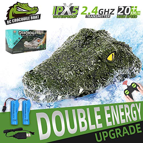RC Boat Remote Control Alligator Head Boats for Kids and Adults, 2.4GHz High Speed Electric Racing Boats for Pools and Lakes, Waterproof Simulation Crocodile Head Float Prank Toys for Boys 8-12
