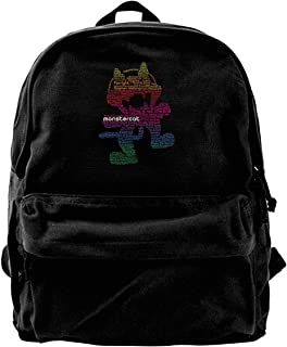 Monstercat - Mochila de lona con logotipo de Monstercat, para gimnasio, senderismo, portátil, bolsa de hombro para hombres...